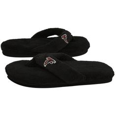 NFL Atlanta Falcons Ladies Black Plush Thong Slippers « Shoe Adds for your Closet