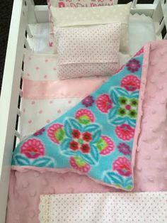 "Bedding 15/""-18/"" Doll /& baby doll Teal//Aqua Fleece Reversible Blanket /& Pillow"