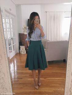 Business casual work outfit idea // vertical stripe shirt + A line skirt + nude…