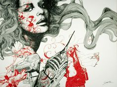 These are beautiful drawings by Gabriel Moreno. I like the way he overlays flowery patterns on the faces.