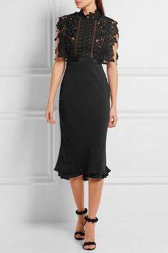 Black guipure lace and crepe  Concealed hook and zip fastening at back  78%…