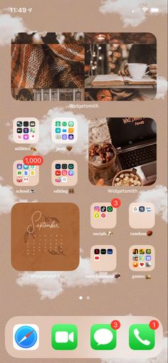 ios 14 aesthetic home screen ideas: fall vibes addition Iphone Home Screen Layout, Iphone App Layout, Homescreen, Iphone Life Hacks, Ios Update, New Ios, Iphone Design, Iphone Icon, Apple Wallpaper