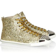 Miu Miu Glitter-finish leather high-top sneakers...