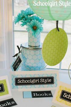 Schoolgirl_Style_Polka_Dots Turquoise Classroom Decor