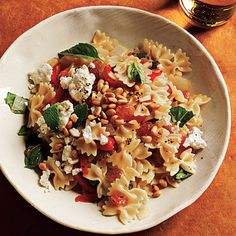 Learn how to make Mini Farfalle with Roasted Peppers, Onions, Feta, and Mint. MyRecipes has 70,000+ tested recipes and videos to help you be a better cook