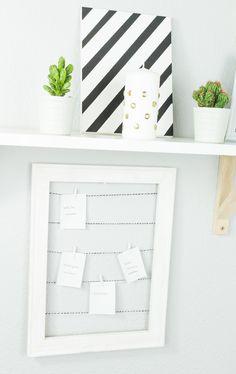DIY Pinnwand aus Holzrahmen basteln - einfache und günstige Upcycling Idee für deinen Haushalt... DIY Geschenk, DIY Deko, Pinnwand basteln, Pinnwand selber machen