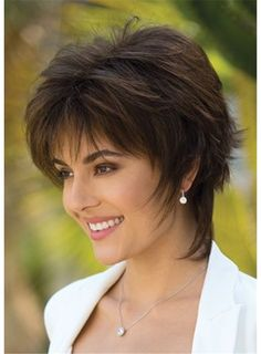 This unique shag with a feathery look combined with a basic layered bob. From the front view, it's a modern bob with bangs which can easily be lifted and separated. But check out the side views and long feathery wisps that frame & caress the neck. Long Bob Hairstyles, Trending Hairstyles, Short Hairstyles For Women, Hairstyles With Bangs, Pixie Haircuts, Braided Hairstyles, Hairstyle Short, Everyday Hairstyles, Girl Hairstyles