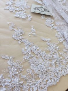 White Lace fabric with beads Wedding lace Bridal by ImperialLace 60$/meter
