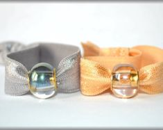 Neutral hair ties with ombre beads. No crease hair ties, yoga hair ties, beaded hair tie, hair bling No Crease Hair Ties, Lauren Kelly, Yoga Hair, Elastic Hair Ties, Hair Beads, Party Favors, Etsy Seller, Great Gifts, Bling