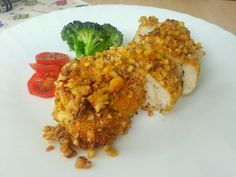 Pechuga de pollo a la miel y mostaza con costra de almendras