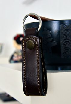 Hey, I found this really awesome Etsy listing at https://www.etsy.com/listing/232066010/chocolate-brown-leather-keychain