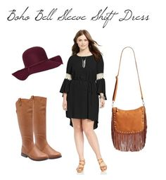 Boho Bell-Sleeve Shift Dress by smilesmakesunshine on Polyvore featuring Love Squared, Street Level, Old Navy and plus size dresses