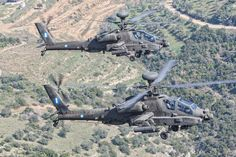 Two Greek Apache 64 DHAs flying together during an exercise. Attack Helicopter, Military Helicopter, Military Aircraft, Hellenic Army, Hellenic Air Force, Army & Navy, Us Army, Ah 64 Apache, Flying Together