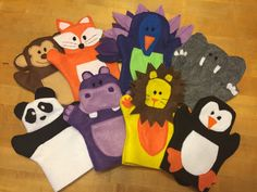 Felt Zoo Animal Hand Puppets Tutorial and Free Printable Patterns - Monkey, Fox, Peacock, Elephant, Panda Bear, Hippo, Lion, Penguin