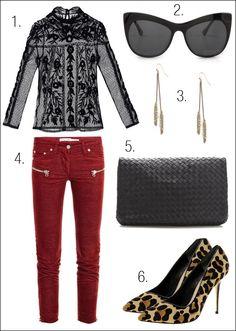 1. Top de encaje de Zara  2. Gafas de Elizabeth and James  3. Pendientes de Bershka  4. Pitillos rojos Etoile Isabel Marant  5. Zapatos de leopardo de Dune