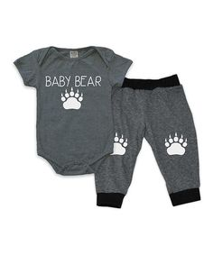 Charcoal Baby Bear Bodysuit & Harem Pants - Infant | zulily