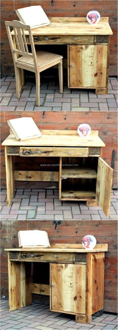 Pallets Recycled recycled pallet table - Every person thinks differently, that's why every single individual who invests time in creating the items using the wooden pallets end up in getting something. Wooden Pallet Table, Wooden Pallet Crafts, Wooden Pallet Furniture, Diy Pallet Projects, Wooden Pallets, Pallet Ideas, Wooden Diy, Furniture Projects, Woodworking Projects