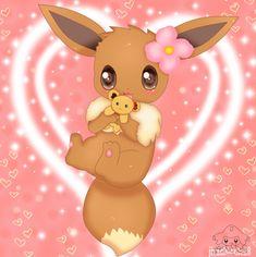 Eevee with her teddybear ... From jirachicute28 ... pokemon, eevee
