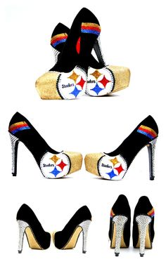 Pittsburgh Steeler Heels with Swarovski Crystals  #Steelers