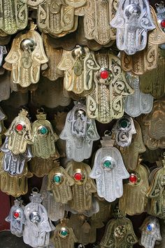 Fatima hands for sale in the old medina of Fes-Morocco Design Marocain, Hamsa Art, Art Et Design, Thinking Day, Hand Of Fatima, Moroccan Style, Lucky Charm, North Africa, Islamic Art