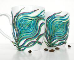 Peacock Coffee Mug--Hand-painted single mug. $30.00, via Etsy.