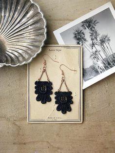 long lace earrings // KAETHE // black statement earrings, art deco earrings, black lace earrings,dangle earrings