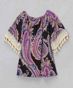 Look at this #zulilyfind! Pink & Black Paisley Swing Dress - Infant, Toddler & Girls #zulilyfinds