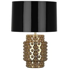 Robert Abbey Dolly Metallic Small Table Lamp ($304) ❤ liked on Polyvore featuring home, lighting, table lamps, traditional lamps, robert abbey, metallic table lamp, metallic lamp and traditional lighting