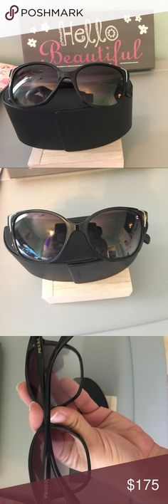 Prada Sunglasses They are black with gold accents. The model is PR 01OS. The lens is polar grey gradient. Prada Accessories Sunglasses