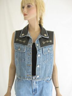 Vintage 80's Denim and Faux Leather Studded by TimeBombVintage