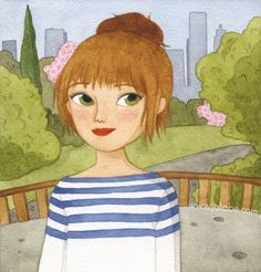 """Central Park"" by Julia Bereciartu Art And Illustration, Watercolor Illustration, Watercolor Face, Doodle Inspiration, Julia, Whimsical Art, Illustrators, Art Drawings, Paris Illustration"