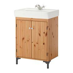 SILVERÅN / HAMNVIKEN Meuble pour lavabo, 2 portes, brun clair brun clair 60x45x91 cm