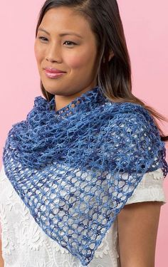Free knitting pattern for easy Laid-Back Shawl - Lorna Miser designed this easy openwork mesh lace shawl that is great with multi-color yarn! 4 row repeat. Can also be worn as a scarf.