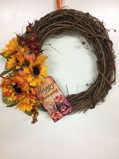 "Happy Thanksgiving, 16"" vine wreath, with sunflowers, little pumpkins, winter…"
