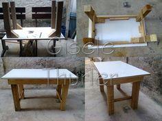 Mesa feita material reciclado. pés de pinus, tampo feito de lateral de armário jogado fora(aglomerado) https://pt-br.facebook.com/GiseleThurlerPallets