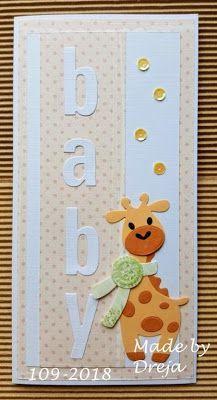 Dreja´s Bastelwelt: Babykarte mit Giraffe Dreja's craft world: baby card with giraffe Baby Boy Cards, New Baby Cards, Homemade Greeting Cards, Homemade Cards, Marianne Design, Kids Cards, Creative Cards, Scrapbook Cards, Cardmaking