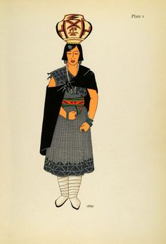 1941 Lithograph Pueblo Indian. Zuni Woman in Traditional Dress by Virginia More Roediger (via periodpaper).