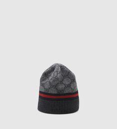 c62944e17bd GG pattern hat with Web detail. Gucci BeanieGucci ScarfGucci ...