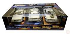 Diecast Auto World - Welly 1/24 Scale 3 Piece Back To The Future I II II BTTF Trilogy Delorean Time Machine Diecast Car Model 22400, $44.99 (http://stores.diecastautoworld.com/products/welly-1-24-scale-3-piece-back-to-the-future-i-ii-ii-bttf-trilogy-delorean-time-machine-diecast-car-model-22400.html/)