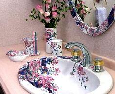 Vintage Cherry Blossom Interior Design Bathroom