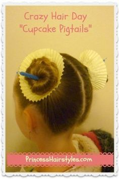 """Crazy Hair Day Hairstyle """"cupcake pigtails"""" for Spirit Week Cute Hairstyles For Kids, Little Girl Hairstyles, Hairstyles For School, Cool Hairstyles, Toddler Hairstyles, Latest Hairstyles, Crazy Hair Day At School, Crazy Hair Days, Crazy Hair Day For Teachers"""