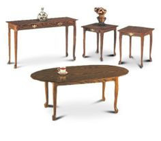 """4 Piece Oak Finish Coffee Table, 2 End Tables, Sofa Table Set by The Furniture Cove. $197.88. 21"""" deep x 18"""" wide x 20 1/2"""" tall. 4 Piece Set! Oak Finish. 42""""long x 24""""wide x 15 1/2"""" tall. 44""""Long x 14""""wide x 25 1/2"""" tall. Coffee Table, 2 End Tables, Sofa Table. This set spells elegance at an affordable price! This is a 4 piece oak finish coffee table set with a wood grain design. This set has Queen Ann legs, an oval coffee table, 2 square end tables and a sofa table. The end ..."""
