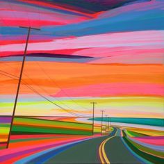 Grant Haffner Sunset On Old Montauk Highway 2015 Acrylic, marker, pencil and paint pen on wood panel
