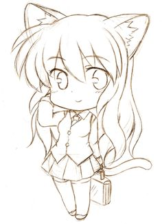 chibi sketch commission for san. Chibi version of his original character, Tiiara I'm sorry for not being able to reply most of the comments. It has been really hard to do so But I'll try to reply . Anime Drawings Sketches, Kawaii Drawings, Cute Drawings, Animal Drawings, Chibi Sketch, Anime Sketch, Drawing Base, Manga Drawing, Draw Chibi