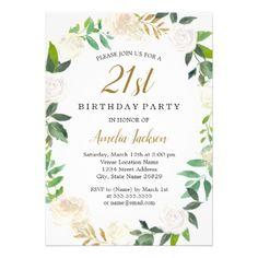 Blush Gold Watercolor Wreath 21st Birthday Card - invitations custom unique diy personalize occasions