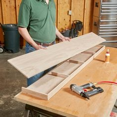 Woodworking Organization Floating Shelves Glue and Nail the frame together.Woodworking Organization Floating Shelves Glue and Nail the frame together Workspace Ideas, Oak Plywood, Wood Putty, Diy Regal, Wood Floating Shelves, How To Make Floating Shelves, Plywood Shelves, Building Floating Shelves, White Wood Shelves