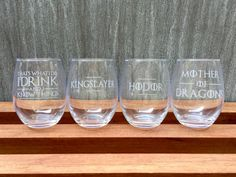 Set of 4 - Game of Thrones Wine Glass, I Drink and I Know Things, Kingslayer…