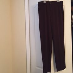 Ladies slacks brown Rafaella straight legged brown unlined slacks. Heavy fabric, machine wash and dry. Worn once. Stretchy, very comfortable and classic cut. Rafaella Pants Trousers
