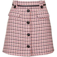 TopShop Button Front Pelmet Skirt ($55) ❤ liked on Polyvore featuring skirts, topshop, bottoms, pink, pink tweed skirt, button down skirt, button front skirt and belted skirt