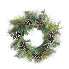 """28"""""""" Mixed Long Needle Pine and Pine Cone Artificial Christmas Wreath - Unlit"""